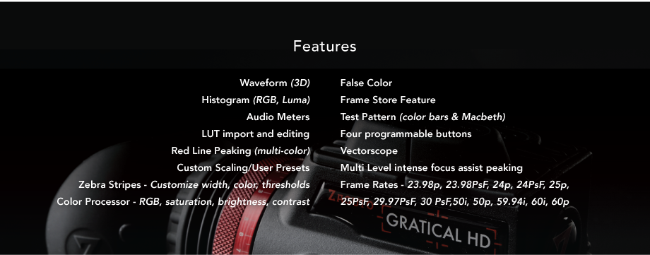 gratical hd features from zacuto