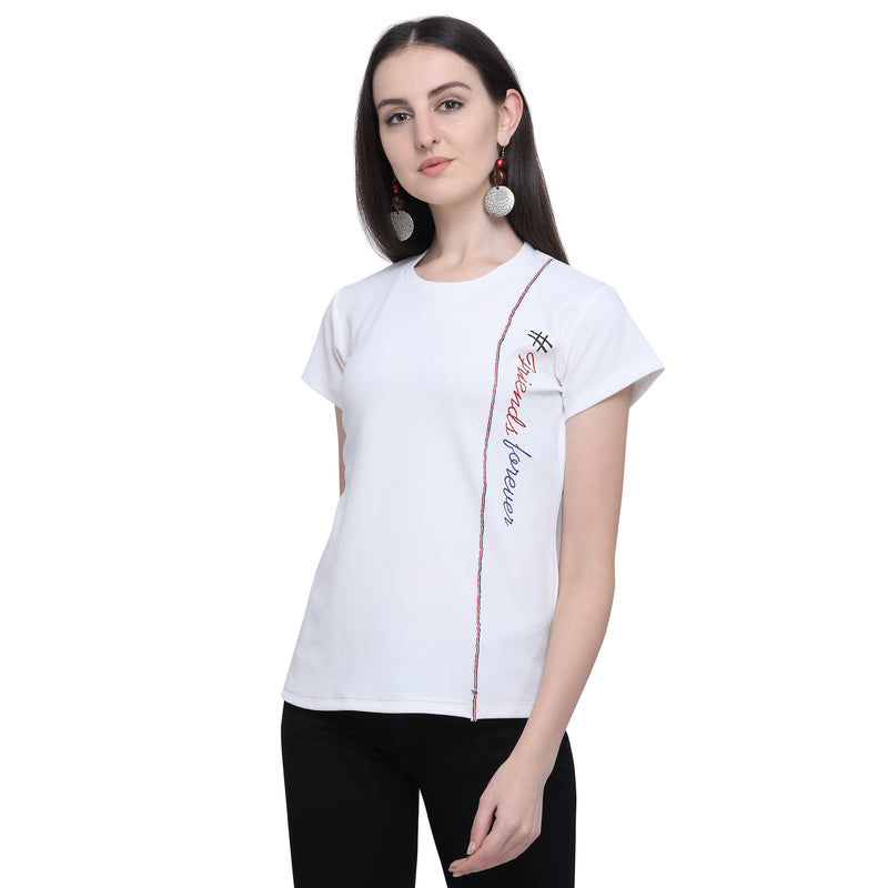 Half Sleeve Polyester White Top For Women