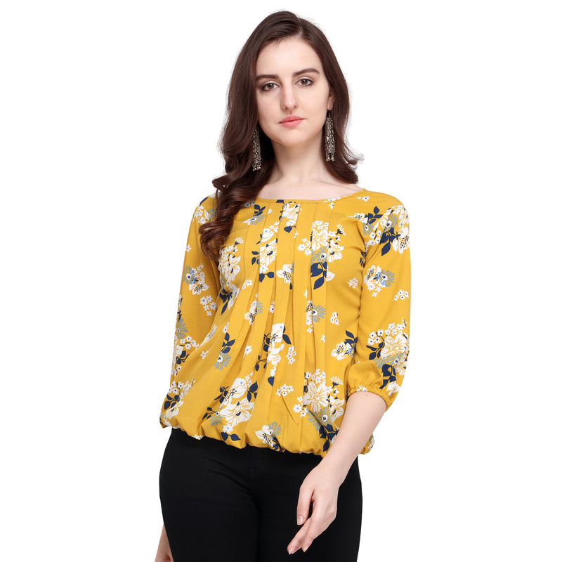 3/4 Sleeve Polyester Yellow Top For Women