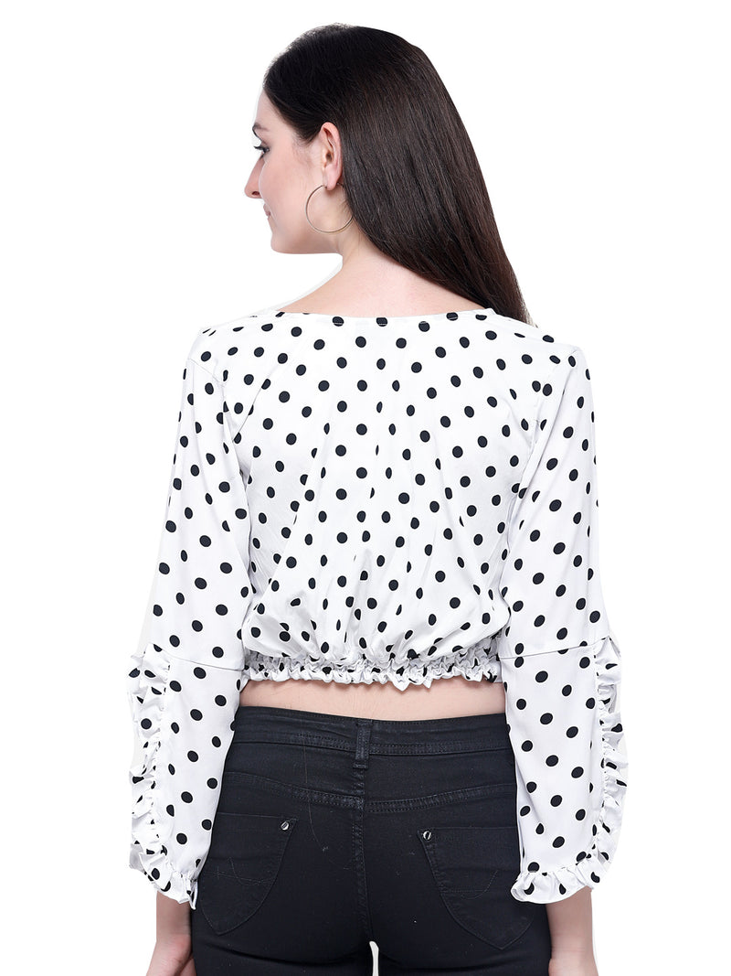 3/4 Sleeve Polyester White Crop Top For Women