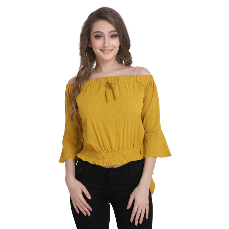 3/4 Sleeve Polyester Yellow Crop Top For Women