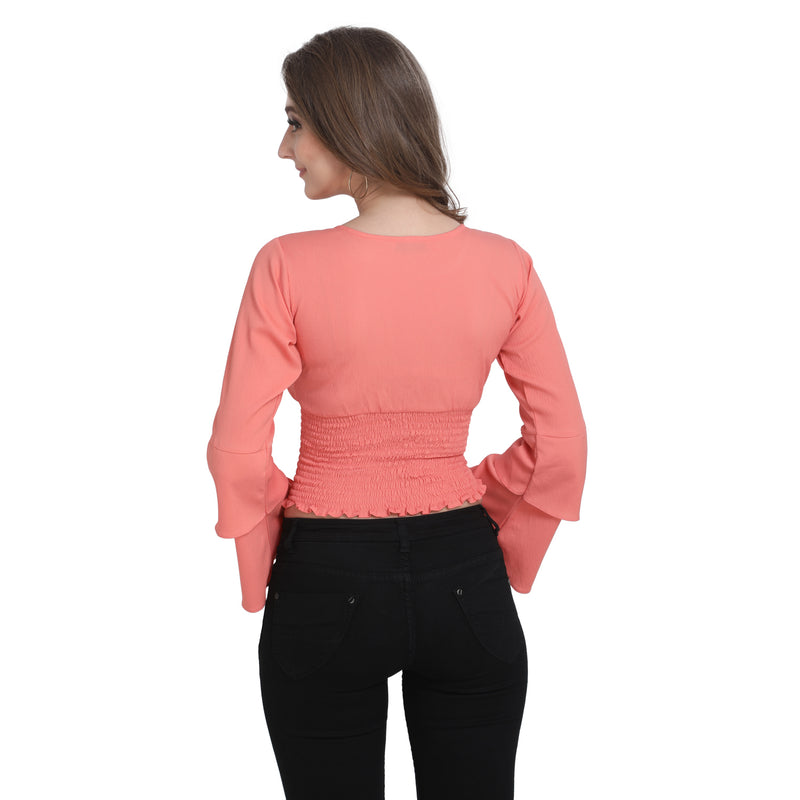 3/4 Sleeve Polyester Peach Crop Top For Women