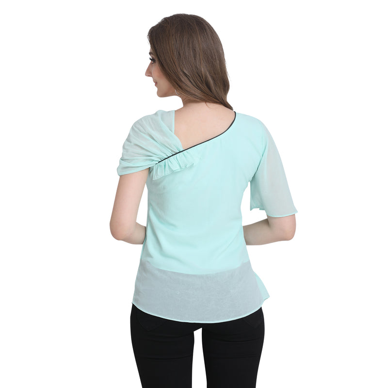 Bell Sleeve Polyester Cyan Top For Women
