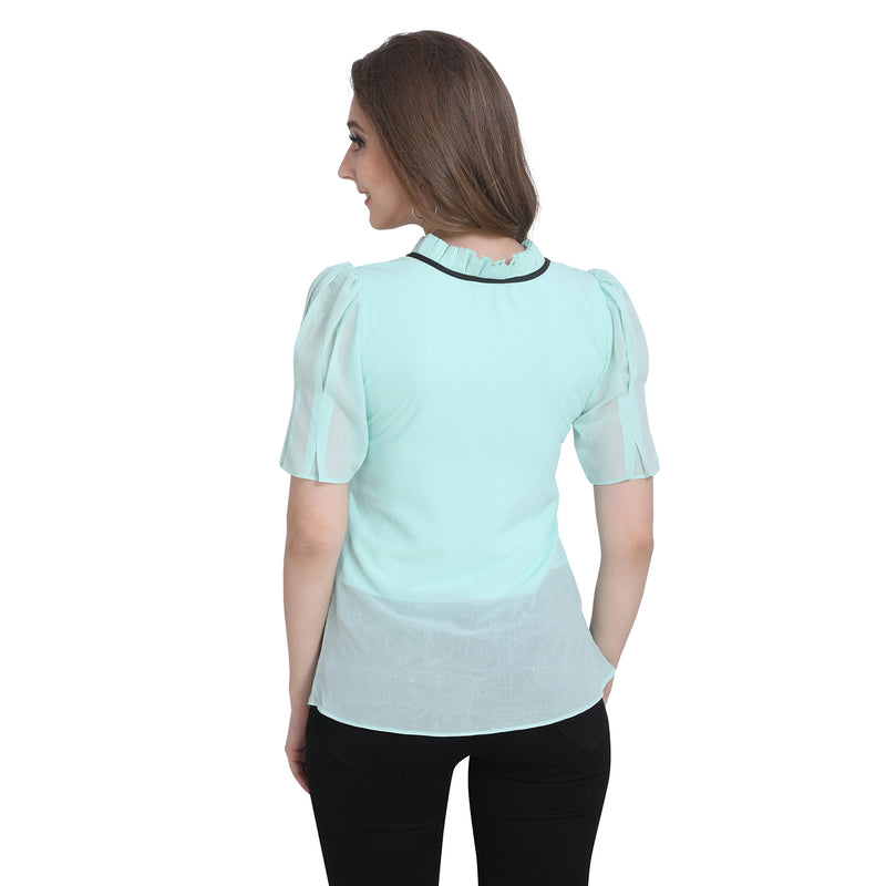 Half Sleeve Polyester Cyan Top For Women
