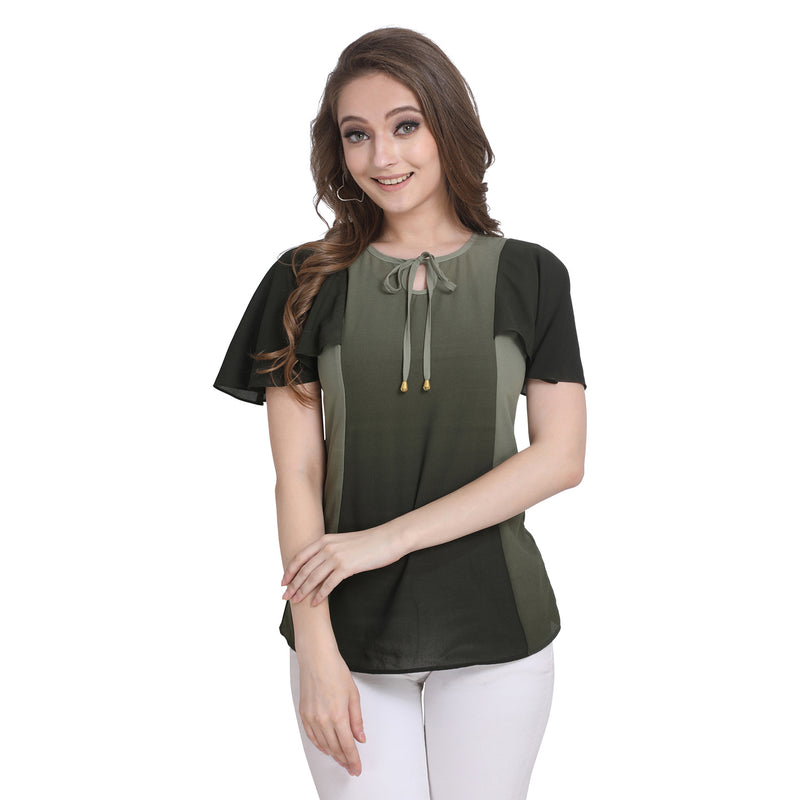 Short Sleeve Polyester Black Top For Women