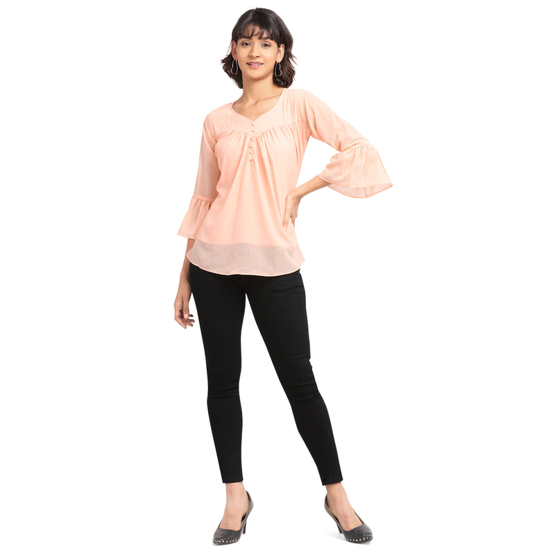 3/4 Sleeve Polyester Light Pink Top For Women