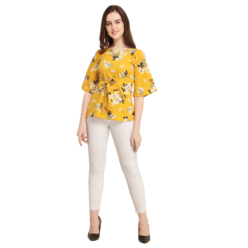 Bell Sleeve Polyester Yellow Top For Women