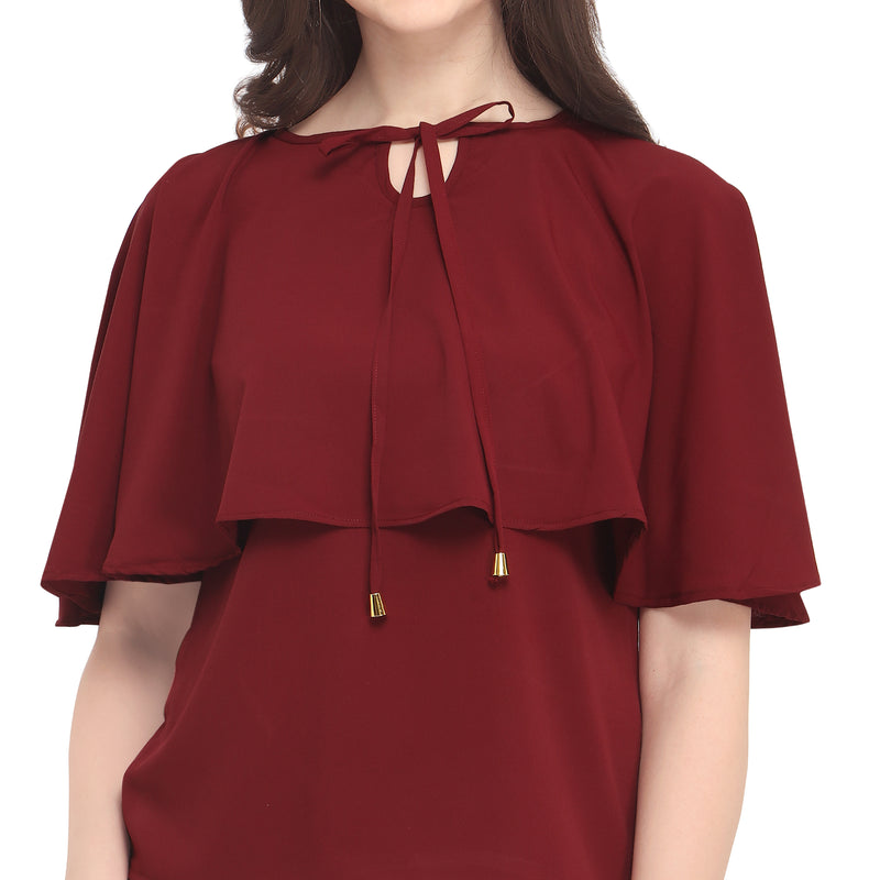 Poncho Sleeve Polyester Darkred Top For Women