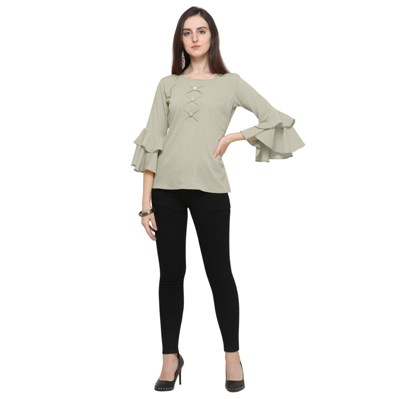 Bell Sleeve Polyester Grey Top For Women