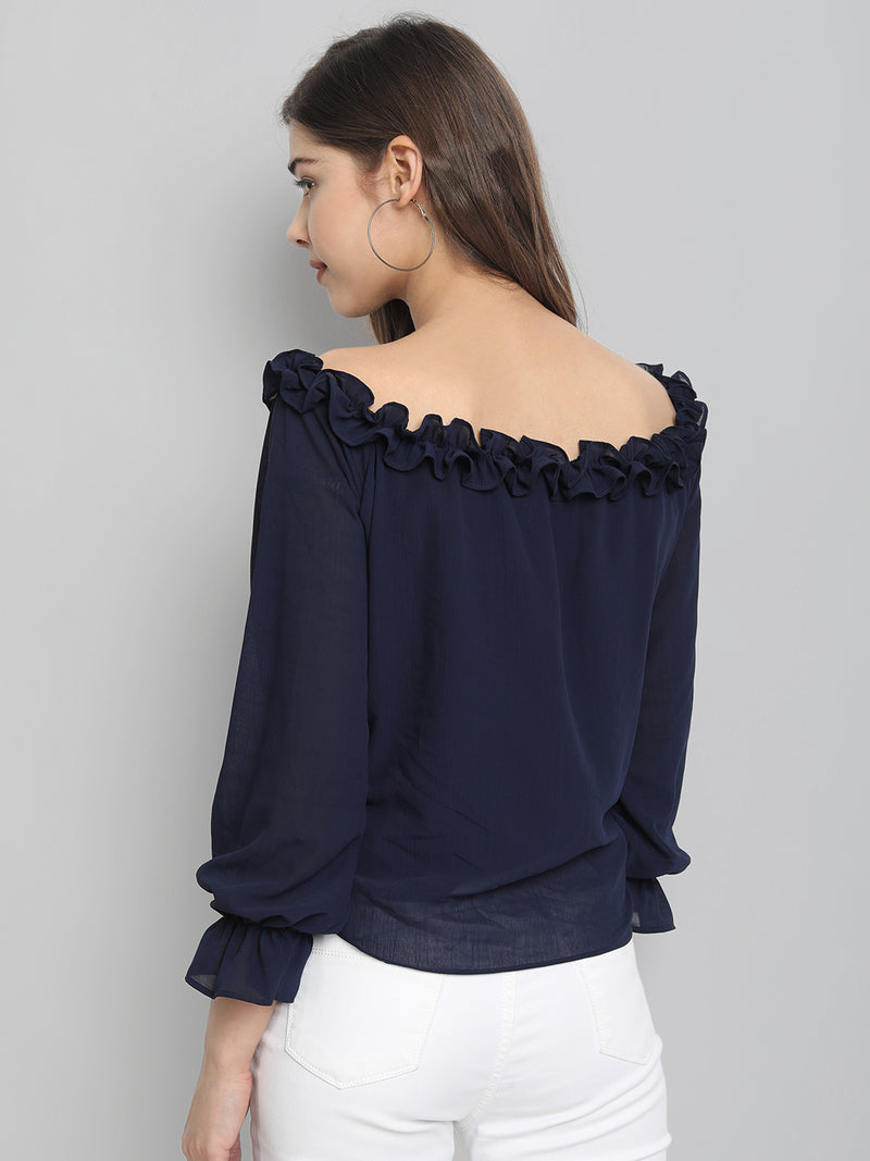 3/4 Sleeve Polyester Blue Top For Women