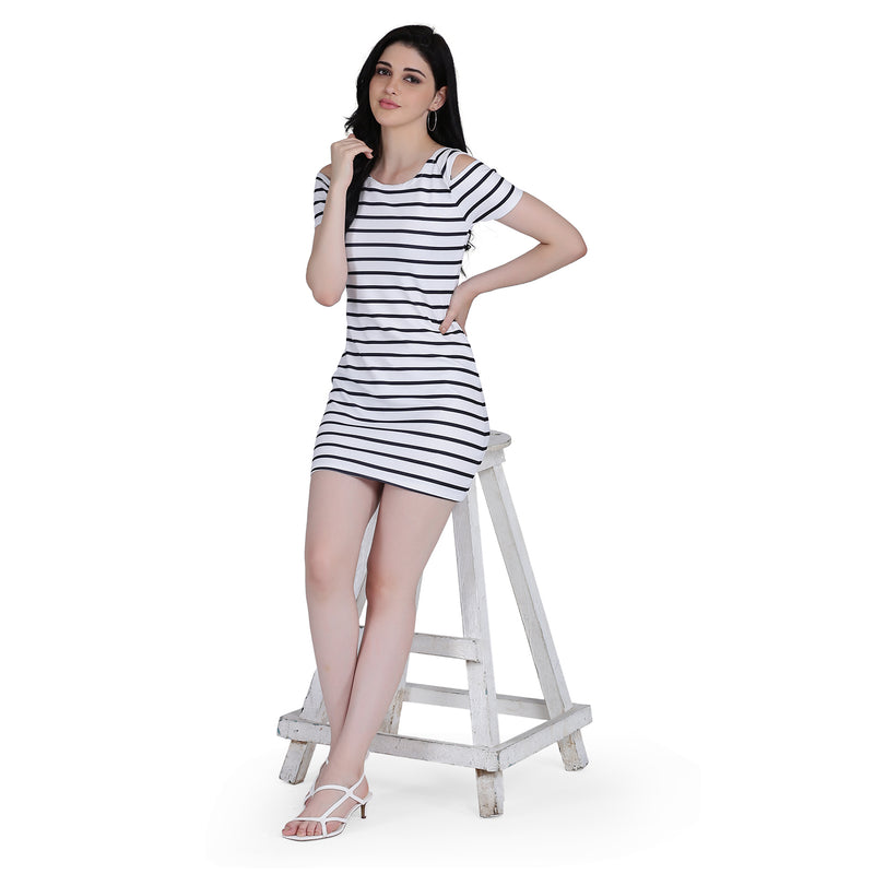 Black Lining Cold Shoulder Short Sleeve Printed Bodycon Style  Polyester Midi Dress for Women