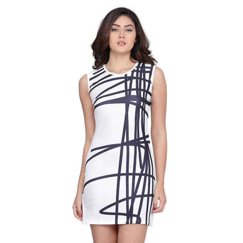 Warp Style Sleeveless  Polyester Black and White Digital Print Dress Midi for Women