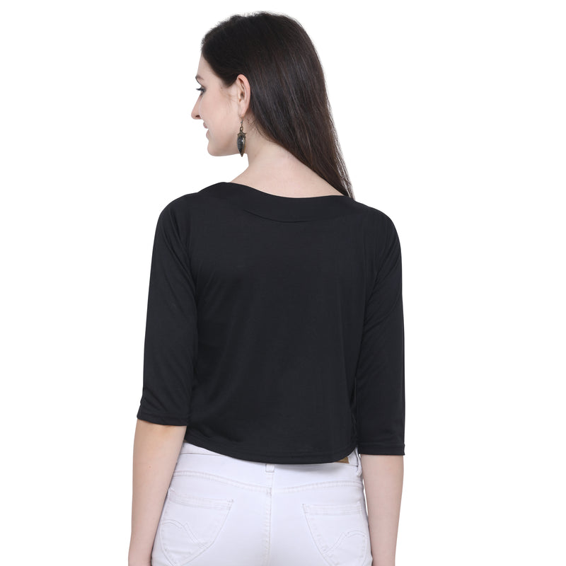Printed Crop Top 3/4 Sleeve Black for Women