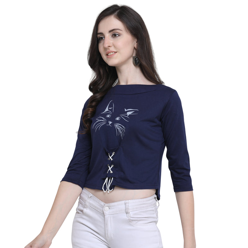 Printed Crop Top 3/4 Sleeve Blue for Women