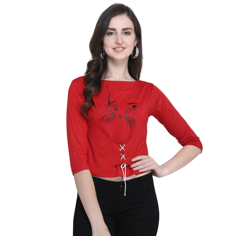 Printed Crop Top 3/4 Sleeve Red for Women