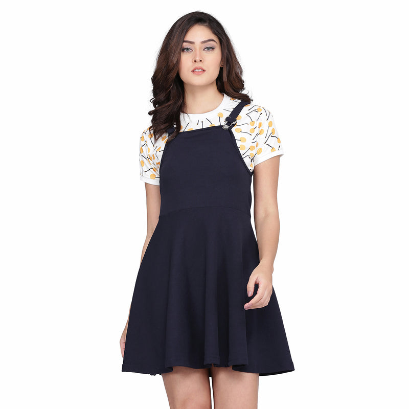 Flare Dungaree Blue With Half Sleeve White Top
