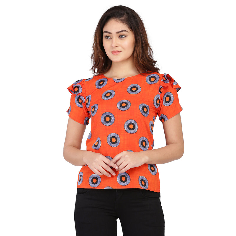 Half Sleeve Polyester Red Top For Women