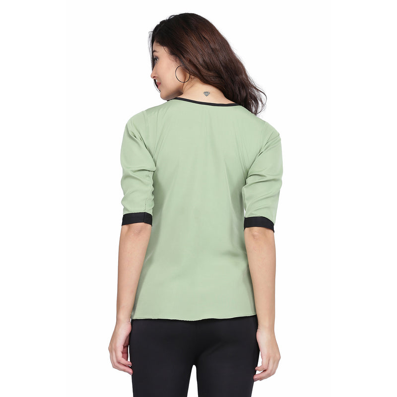 3/4 Sleeve Polyester Green Top For Women