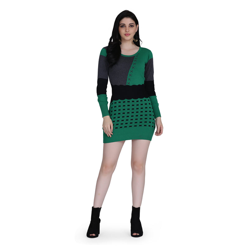 Knit Cotton Full Sleeve Bodycon Style Green Midi Dress for Women