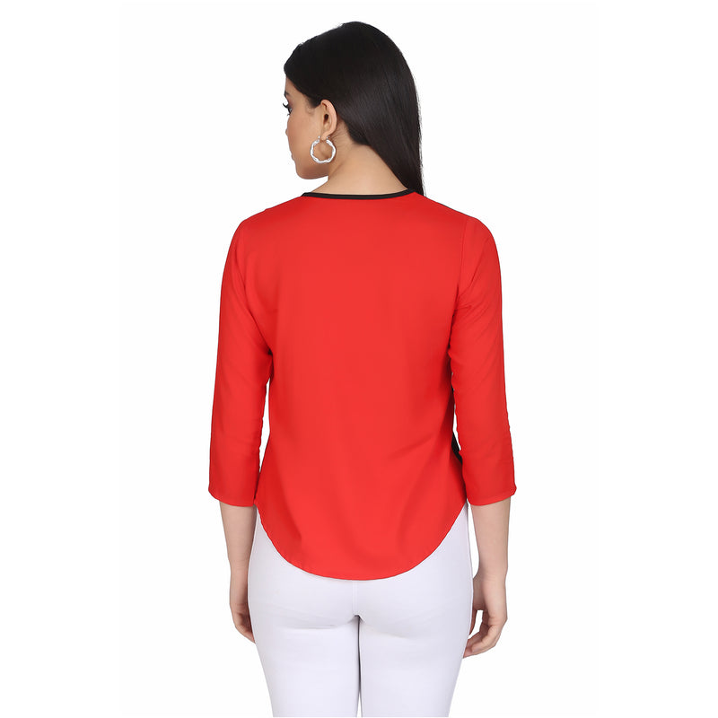 Embroidered 3/4 Sleeve Red Paris Top