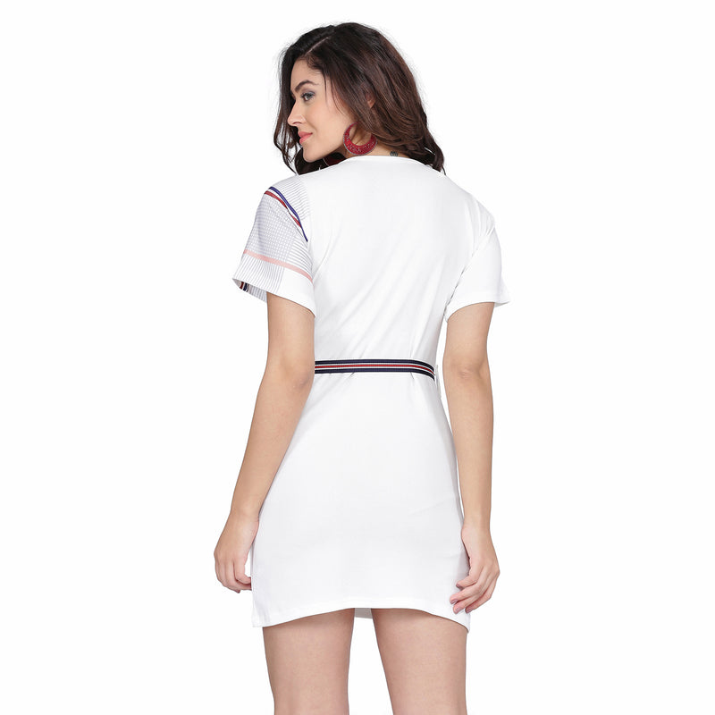 Warp Style Half Short Sleeve Digital Print White Dress Midi for Women