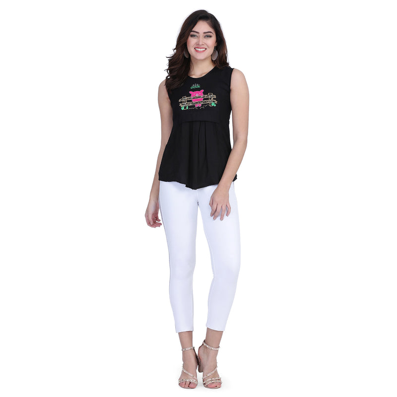 Cotton Rayon Sleeveless Black Embroidery Tops for Women
