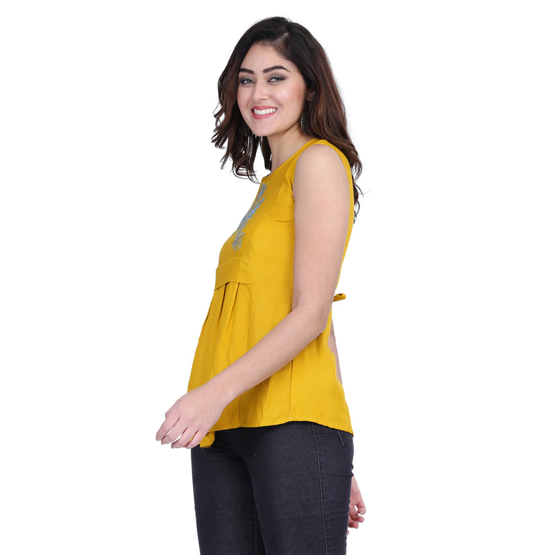 Cotton Rayon Sleeveless Yellow Embroidery Tops for Women