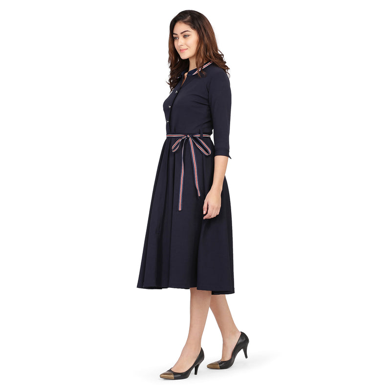 3/4 Sleeve Blue Flare Long Midi Dress