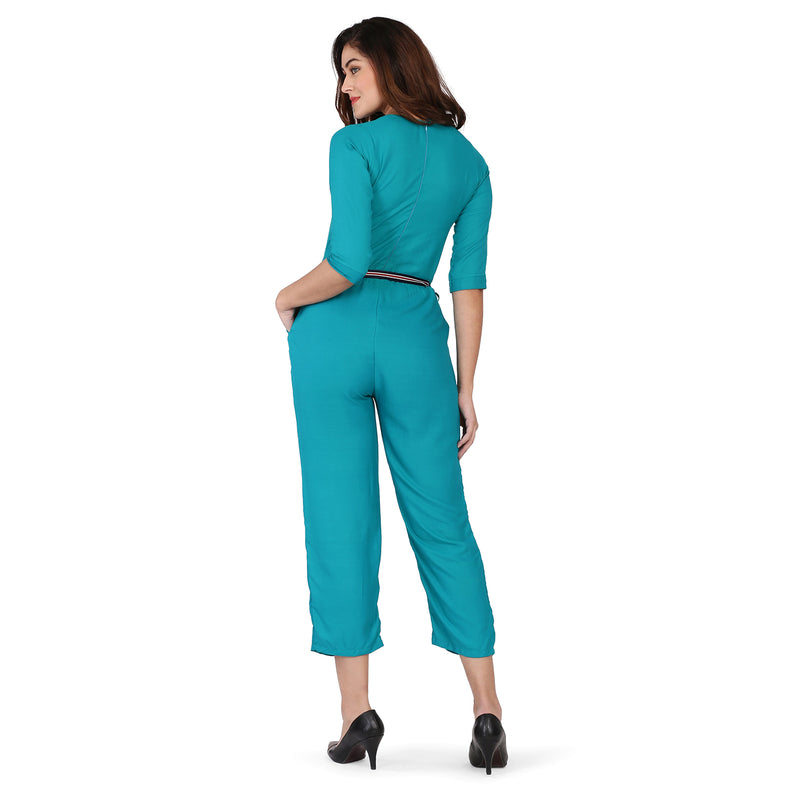 Cotton Rayon 3/4 Sleeve Embroidered Rama Jumpsuit for Women