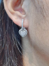 Load image into Gallery viewer, Heart Dangling Diamond Earrings