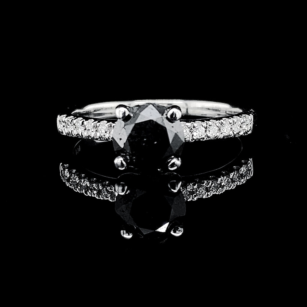 1.19ct Round Solitaire Black Diamond 18kt
