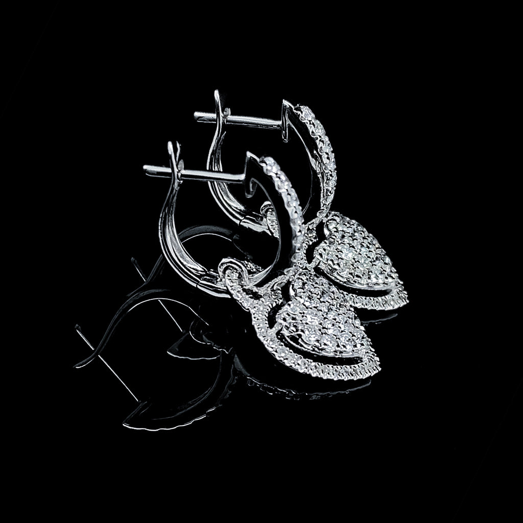 Heart Dangling Diamond Earrings