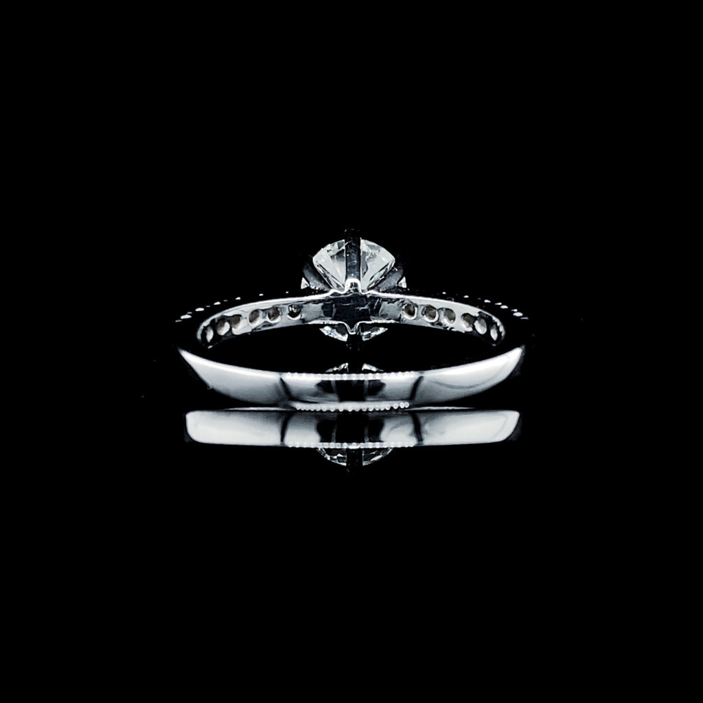 1.32ctw M Flawless Round Center Diamond Paved Band GIA 18kt