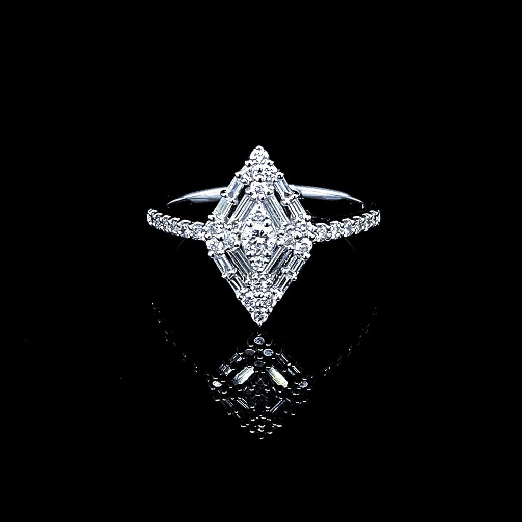 Diamond Shape Baguette Paved Diamond Ring