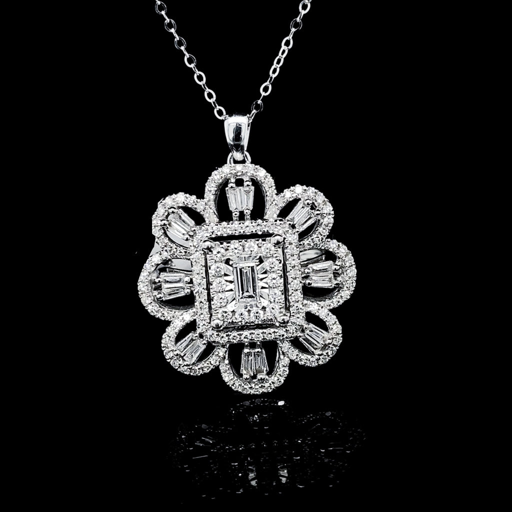 Floral Deco Diamond Necklace 14kt