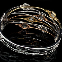 Load image into Gallery viewer, Tricolor Crossover Diamond Bangle 14kt