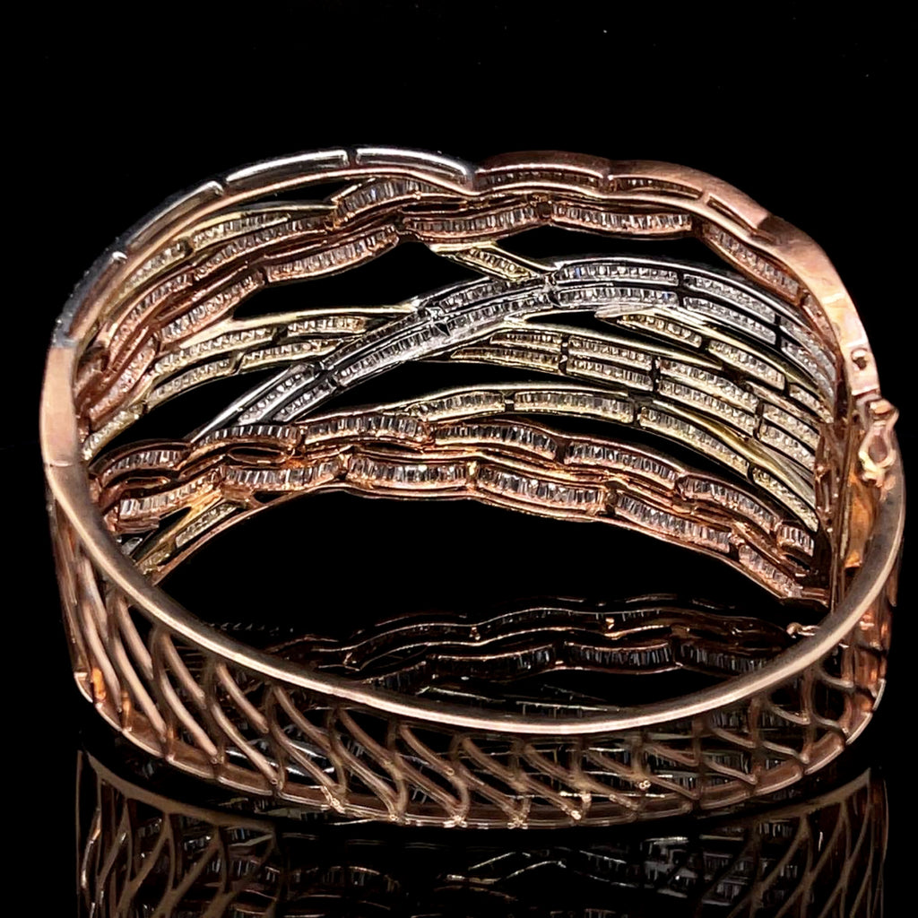 Crossover Baguette Diamond Paved Tricolor Bangle
