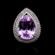 Load image into Gallery viewer, Amethyst Pear Shape Diamond Ring 14kt
