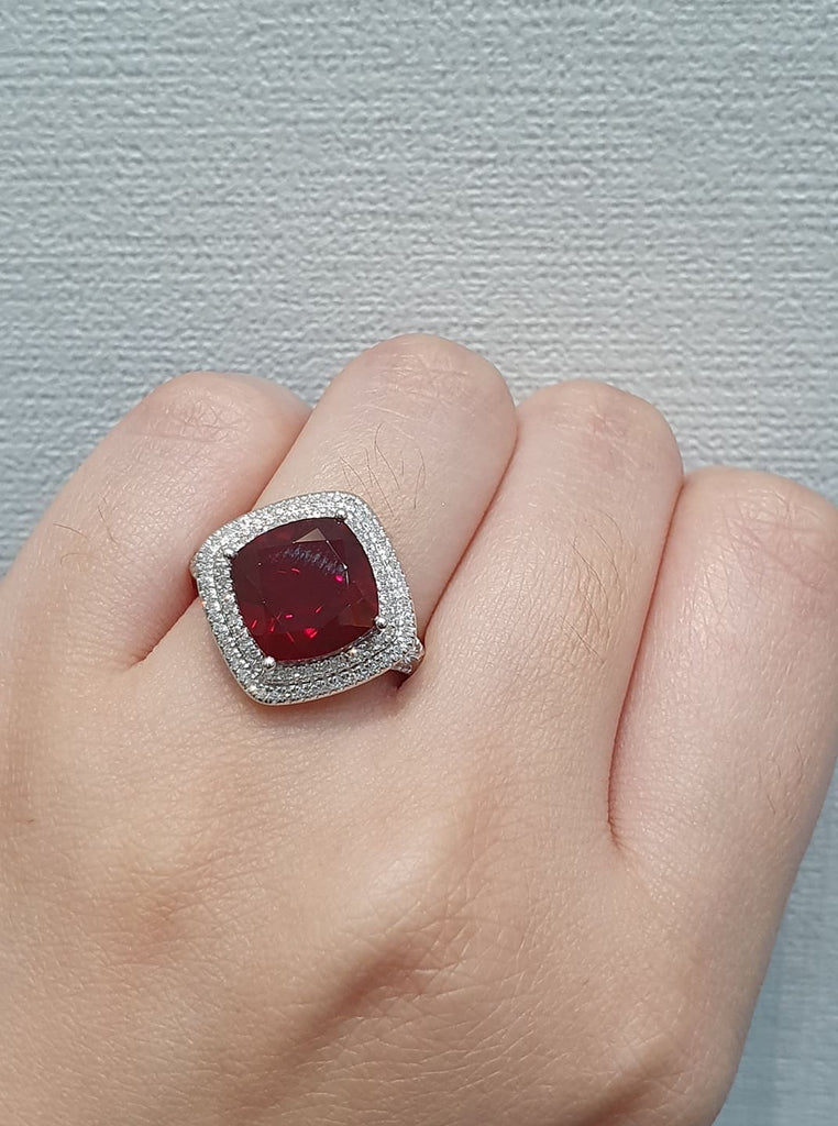Ruby Ring With Side Stones