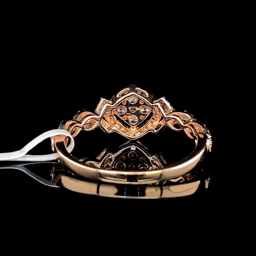 Twisted Shank Deco Diamond Ring