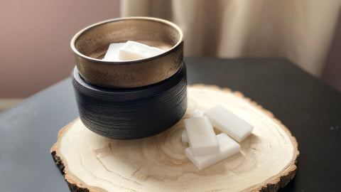 Wax melter with 2 wax cubes in the bowl and more next to it on a wooden plate