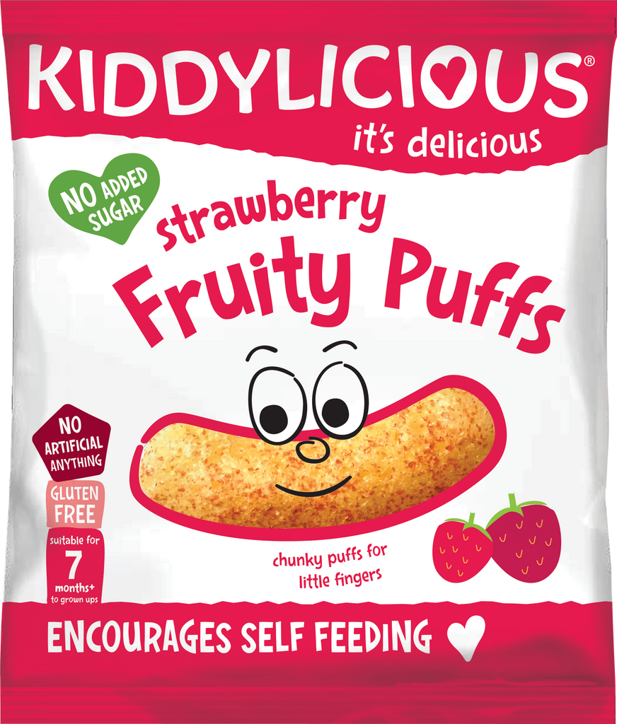 Strawberry Fruity Puffs - Box of 6 x 10g bags