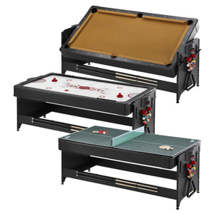 Fat Cat Original 3-in-1 7' Table Tennis/Pool/Air Hockey Pockey Multi-Game Table Tan