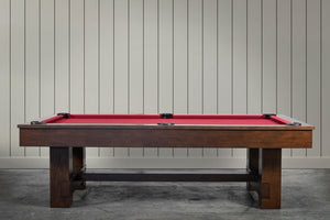 IRON SMYTH THE BRUISER 8' SLATE POOL TABLE IN SABLE BURGUNDY RED INCLUDES CHOICE OF CHAMPIONSHIP BILLIARD FELT