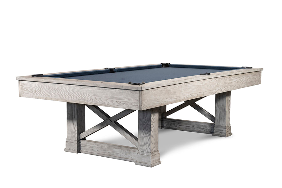 IRON SMYTH THE FARMHOUSE 8' SLATE POOL TABLE IN WHITEWASH INCLUDES CHOICE OF CHAMPIONSHIP BILLIARD FELT