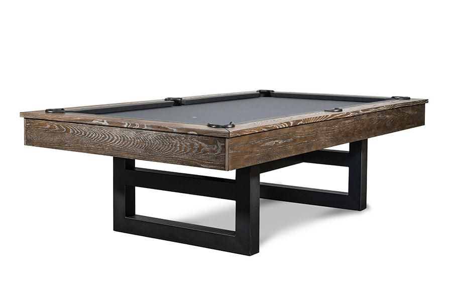 IRON SMYTH THE IRONHORSE 8' SLATE POOL TABLE IN BROWN WASH INCLUDES CHOICE OF CHAMPIONSHIP BILLIARD FELT
