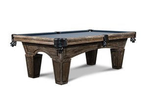 IRON SMYTH THE DON 8' SLATE POOL TABLE IN BROWN WASH INCLUDES CHOICE OF CHAMPIONSHIP BILLIARD FELT