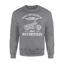 Load image into Gallery viewer, Easily Distracted By Guns And Motorcycles - Standard Crew Neck Sweatshirt