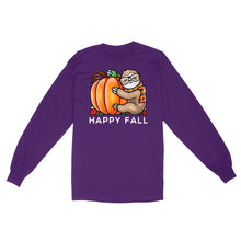 Load image into Gallery viewer, Happy Fall Cute Sloth Glasses Scarf Hugging A Pumpkin - Standard Long Sleeve