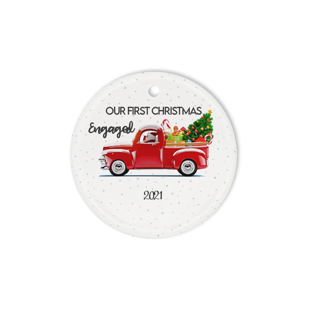 Our First Christmas Engaged 2021 Circle Ornament - Circle Ornament (2 sided)